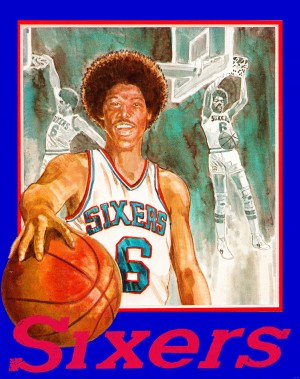 1980 julius erving phildelphia 76ers retro basketball art by Row One Brand