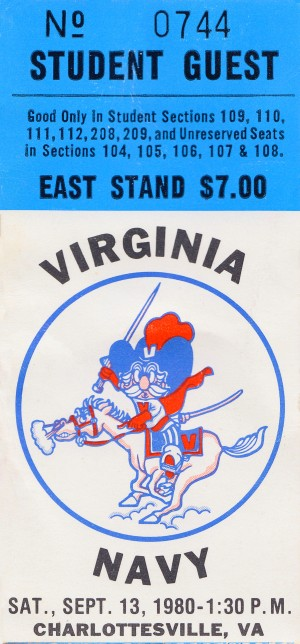 1980 navy virginia college football ticket art sports gift ideas by Row One Brand