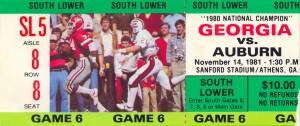 1981 auburn georgia sec college football ticket stub canvas wall art by Row One Brand