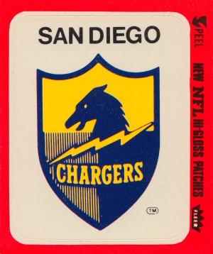 1981 fleer nfl high gloss patch san diego chargers sticker reproduction poster by Row One Brand