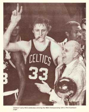 1981 nba boston celtics larry bird red auerbach victory cigar by Row One Brand
