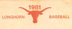 1981 texas longhorn college baseball art by Row One Brand