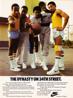 1981 vintage nike shoe ads dynasty on 34th street retro basketball poster by Row One Brand