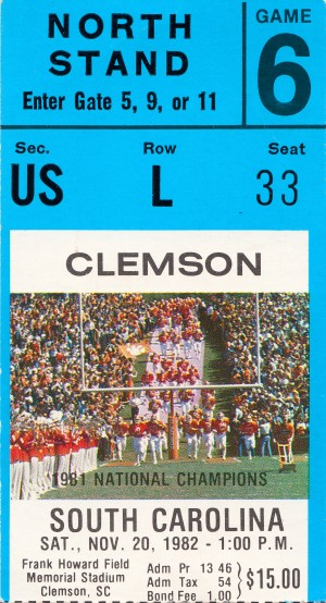 1982 Clemson South Carolina Football Ticket Art by Row One Brand