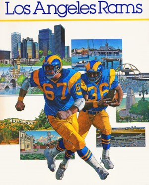 1982 la rams downtown los angeles hollywood poster by Row One Brand