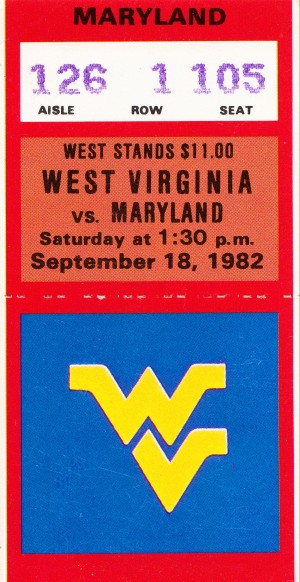 1982 maryland west virginia mountaineers ticket stub canvas by Row One Brand