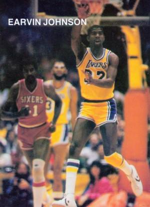1983 los angeles la lakers magic johnson retro basketball poster by Row One Brand