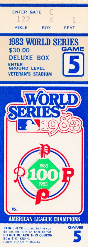 1983 world series philadelphia phillies deluxe box ticket stub by Row One Brand