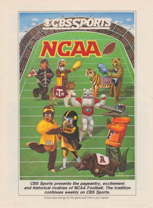 1984 CBS Sports College Football Mascots Art Reproduction_LSU Georgia Florida UCLA Arkansas Maryland (1) by Row One Brand