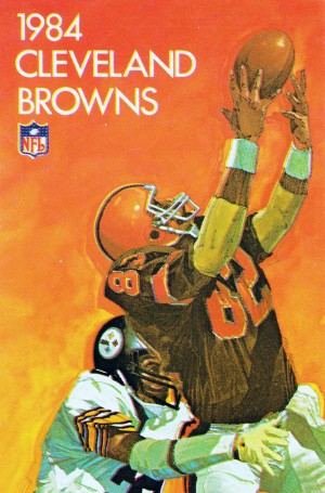 1984 cleveland browns poster retro sports art reproductions metal signs football prints wood by Row One Brand