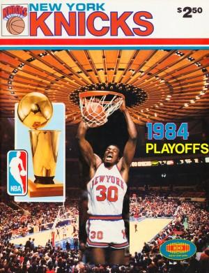 1984 new york knicks nba basketball playoffs bernard king program poster by Row One Brand