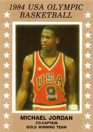 1984 usa olympic basketball gold medal michael jordan wood print by Row One Brand