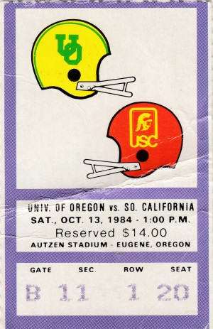 1984_College_Football_Oregon vs. USC_Autzen Stadium_College Ticket Stub Collection by Row One Brand