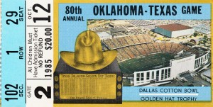 1985 College Football NCAA Champions Oklahoma Sooners vs. Texas Ticket Art by Row One Brand