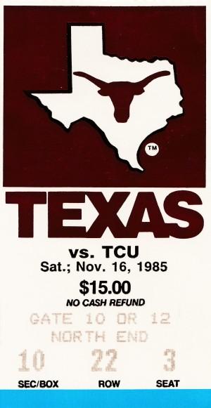 1985 Texas Longhorns Football Ticket Stub by Row One Brand