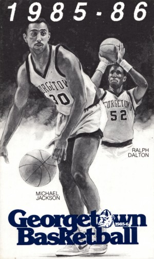 1985 georgetown hoyas basketball poster retro 1980s sports artwork by Row One Brand