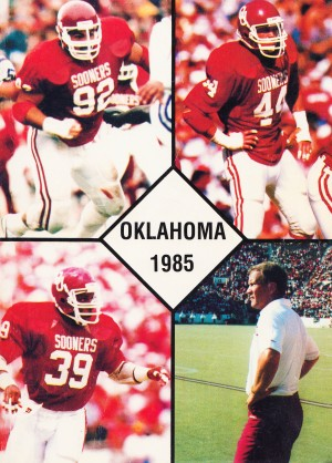 1985 oklahoma sooners barry switzer brian bosworth poster by Row One Brand