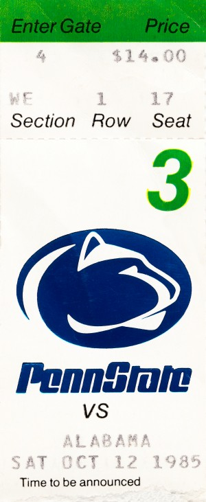 1985 penn state alabama football ticket stub reproduction print by Row One Brand