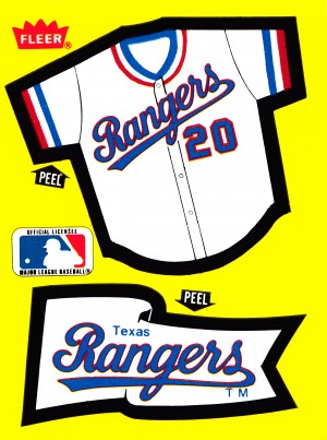 1985 texas rangers fleer decal poster reproduction wall art  by Row One Brand