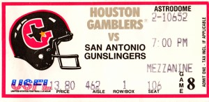 1985 Houston Gamblers USFL Ticket Canvas by Row One Brand