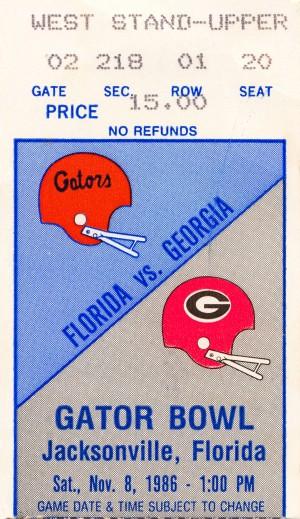 1986 florida georgia bulldogs football ticket stub poster by Row One Brand