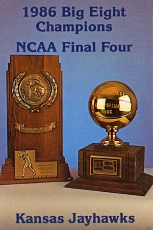 1986 kansas jayhawks ncaa final four basketball poster reproduction by Row One Brand