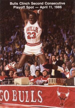 1986 michael jordan chicago bulls art poster canvas by Row One Brand