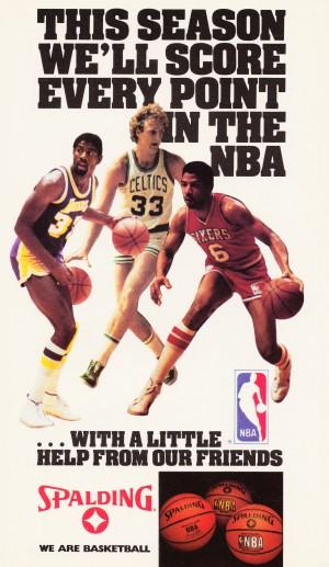 1986 nba spalding basketball ad bird johnson erving by Row One Brand