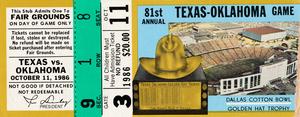 1986 Oklahoma vs. Texas Football Ticket Art by Row One Brand