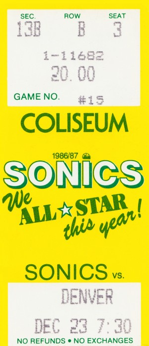 1986 seattle supersonics ticket stub canvas art by Row One Brand