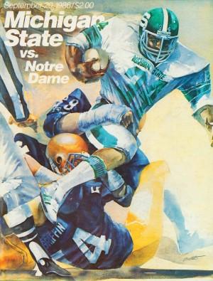 1986MichiganStateSpartansFootballProgramCoverArtReproductionRobertBrentArtist by Row One Brand