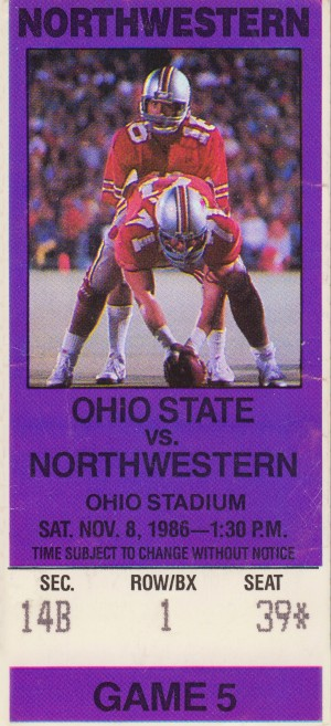 1986 Northwestern vs. Ohio State Buckeyes  by Row One Brand