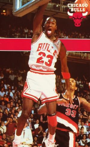 1987 michael jordan chicago stadium poster by Row One Brand