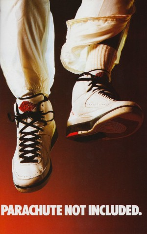 1987 nike air jordan ad poster parachute not included reproduction art by Row One Brand