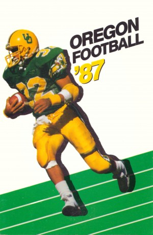 1987 oregon ducks retro football poster by Row One Brand