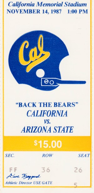 1987 Cal Bears vs. Arizona State by Row One Brand
