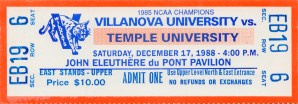 1988 College Basketball Ticket Stub Art Poster_ Villanova Wildcats vs. Temple Ticket Stub Poster by Row One Brand