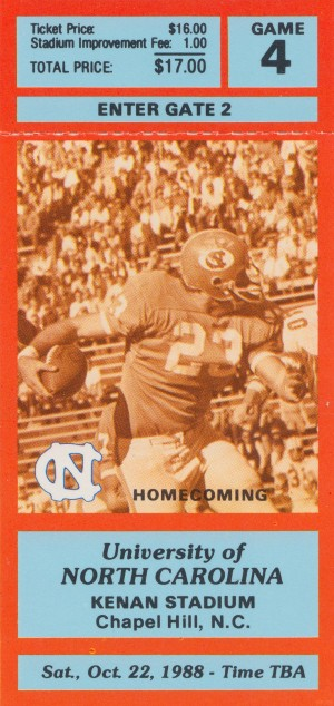 1988 North Carolina Football Ticket Stub Poster Print by Row One Brand