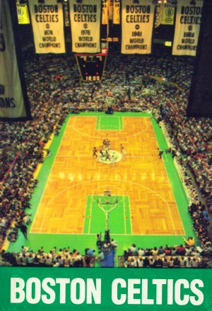 1988 boston celtics boston garden poster by Row One Brand