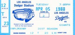 1988 la dodgers giants dodger stadium baseball ticket wall art sports gift by Row One Brand