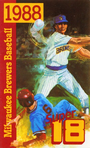 1988 milwaukee brewers baseball wvtv super 18 tv retro television station sports ad poster metal art by Row One Brand