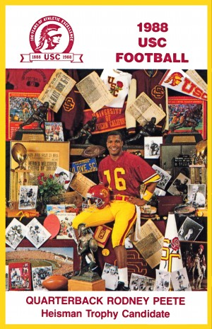1988 usc football poster heisman candidate rodney peete by Row One Brand