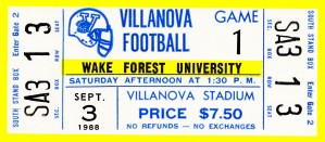 1988 villanova wake forest university college football ticket stub by Row One Brand