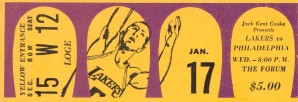 Jerry West 39 points 1968 la lakers nba basketball ticket stub art by Row One Brand