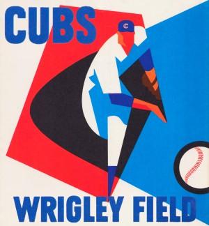 Retro_Remix_Sports_Art_Otis_Shepard_Program_Scorecard_Posters_Row_One_Chicago_Cubs by Row One Brand