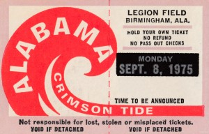 University of Alabama Crimson Tide Football Ticket Stub Art Poster by Row One Brand