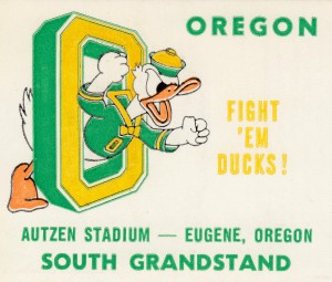 Vintage Oregon Duck Art_College Ticket Print by Row One Brand
