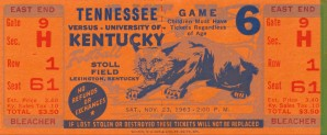 Vintage Sports Ticket Stubs Football Metal Prints 1963 Kentucky Wildcats Football by Row One Brand