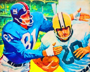 Vintage_New_York_Giants_Football_Watercolor_Style_Painting_Mixed_Media_Art by Row One Brand