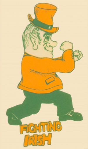 Vintage Notre Dame Leprechaun Art_Notre Dame poster by Row One Brand